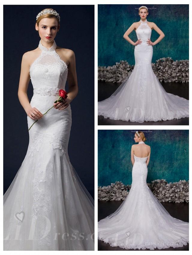 wedding photo - Halter Mermaid Lace Wedding Dress