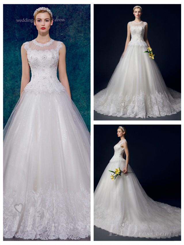 wedding photo - Illusion Neckline Beaded A-line Wedding Dress