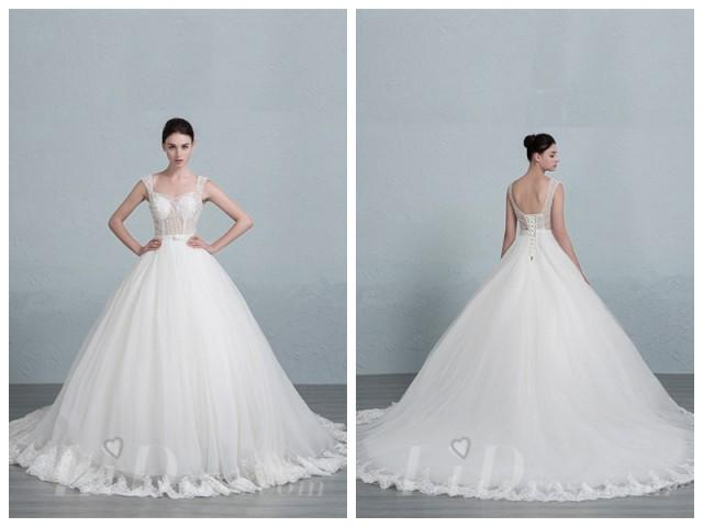 wedding photo - Straps Square Neckline Ball Gown Wedding Dress