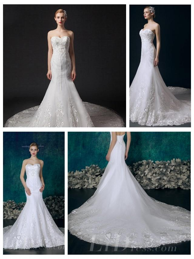 wedding photo - Strapless Beaded Mermaid Wedding Dress