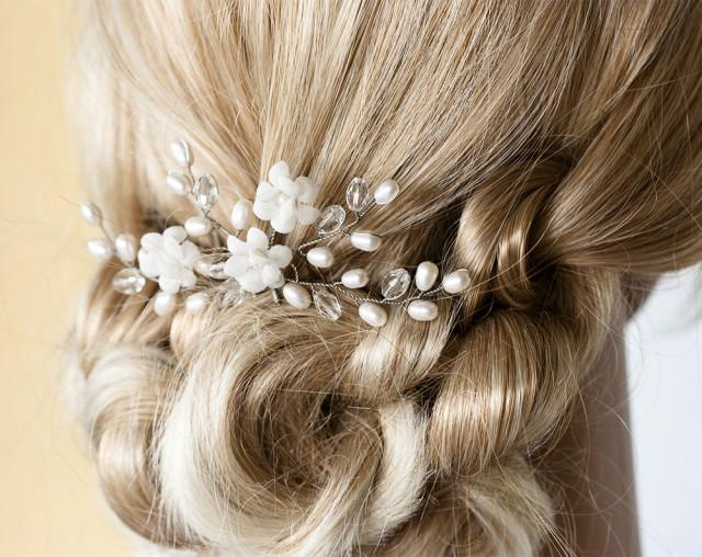 wedding photo - White hair pin, Bridal hair accessories, Pearl hair pins, Crystal hair accessory, Wedding hair pin, bridal hair flowers, Silver hair pins.