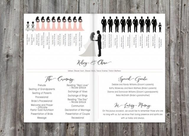 Folding Silhouette Wedding Ceremony Program Printable, Wedding ...
