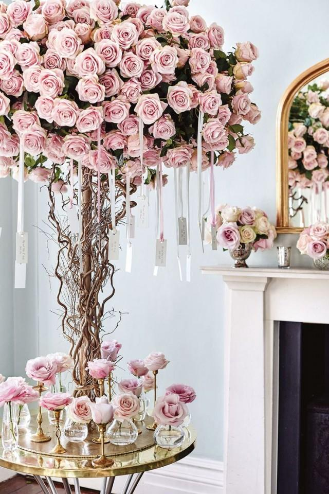 Rose tree hanging escort cards pink wedding theme for Where can i buy wedding decorations