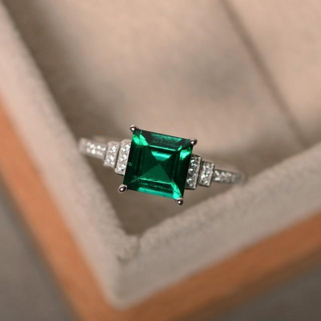 lab created emerald ring sterling silver square cut. Black Bedroom Furniture Sets. Home Design Ideas