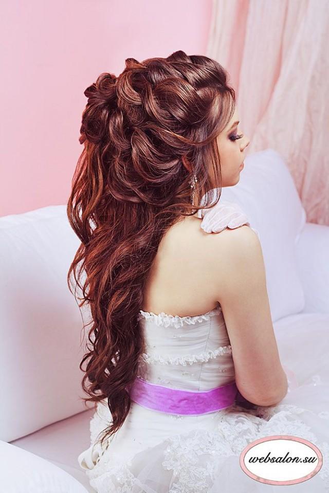 Причёски на длинные волосы на свадьбу с фото