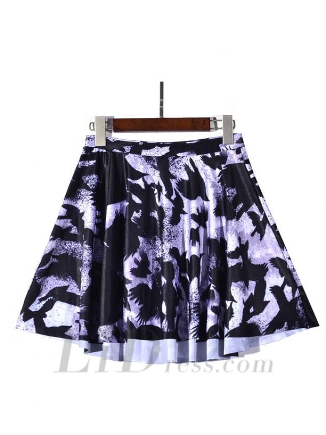 wedding photo - 2016 New Hot Digital Printing Gray And Purple Crow Skirt Skt1217