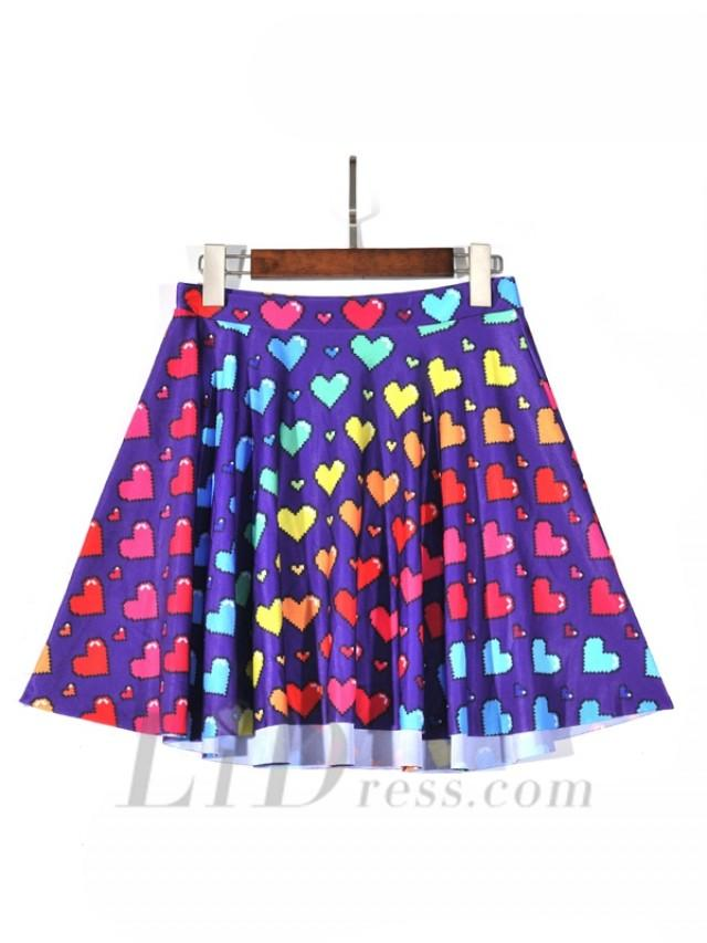 wedding photo - Wholesale And Retail Selling Of Digital Printing Color Love Pleated Short Skirts Skt1215