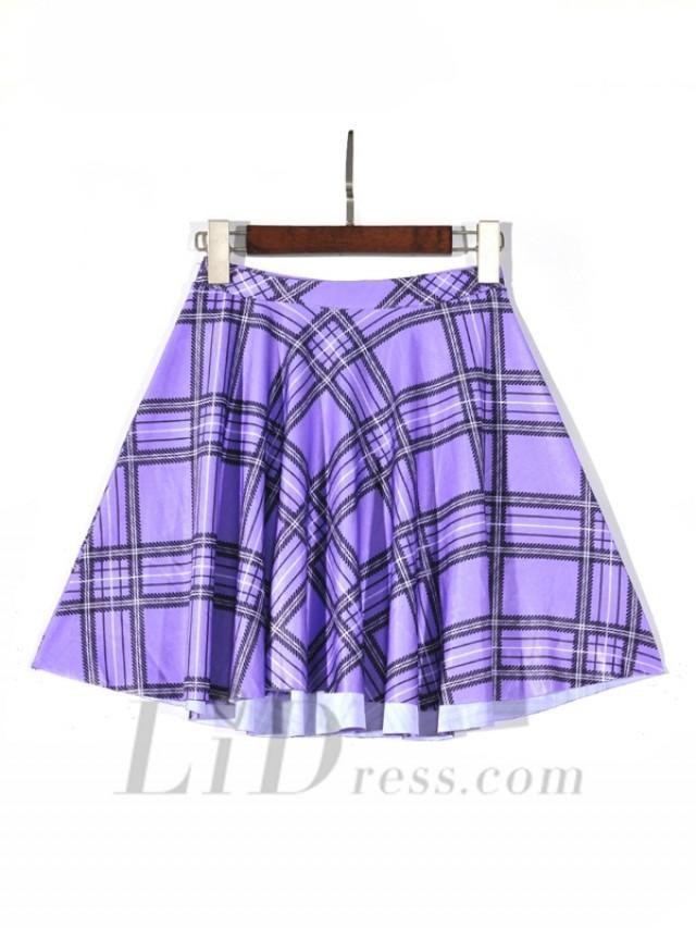 wedding photo - Plaid 2016 Hot Spring College Style Digital Printing Purple Plaid Pleated Skirts Skt1214