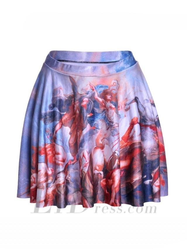 wedding photo - Womens Boutique Fan Series With Best Selling Digital Printing War Painting Pleated Skating Skirt Skt1210