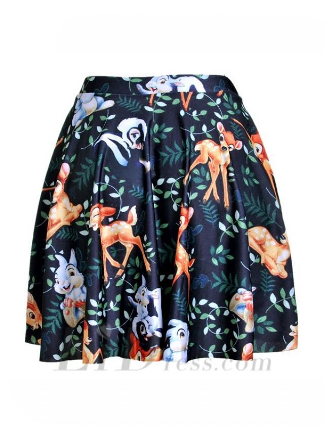 wedding photo - Hot Womens Digital Printing Rabbits Pleated Skirt Skt1207