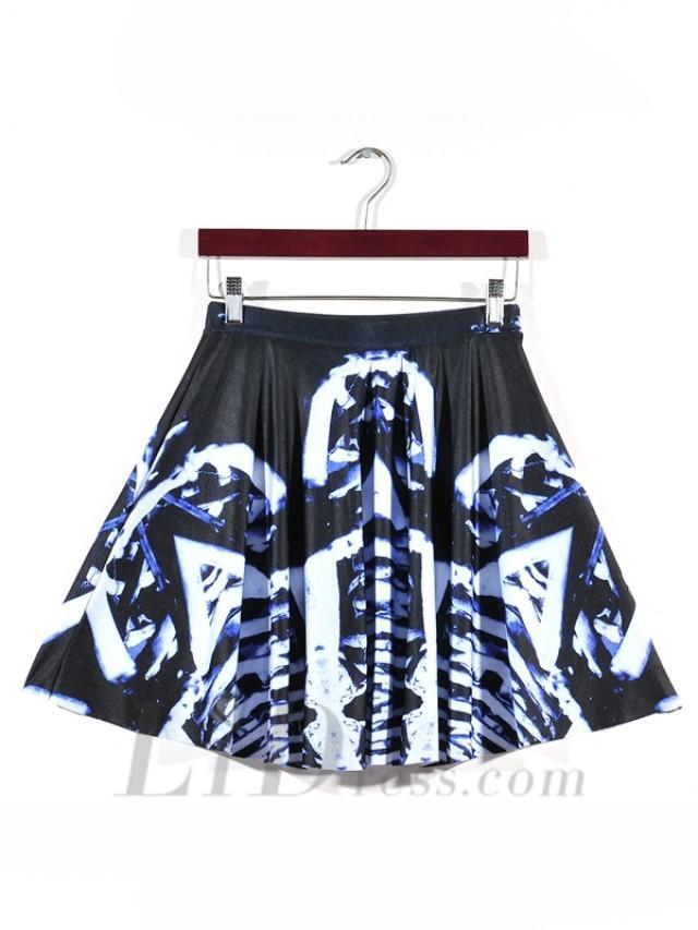 wedding photo - Hot Selling Women Pleated Digital Printing Blue Skirt Skt1199