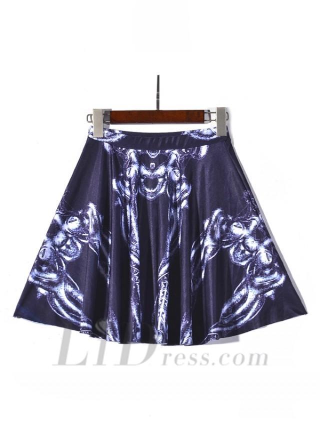 wedding photo - New Hot Digital Printing Pleated Skirt Skeleton Skt1197