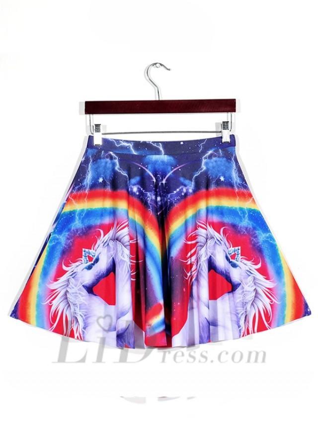 wedding photo - Rainbow Unicorn Hot Rainbow Unicorn Digital Printing Pleated Skirts Skt1184