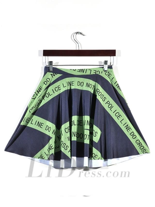 wedding photo - Hot Sale Digital Printing Green Warning Stripe Pleated Skirt Skt1183