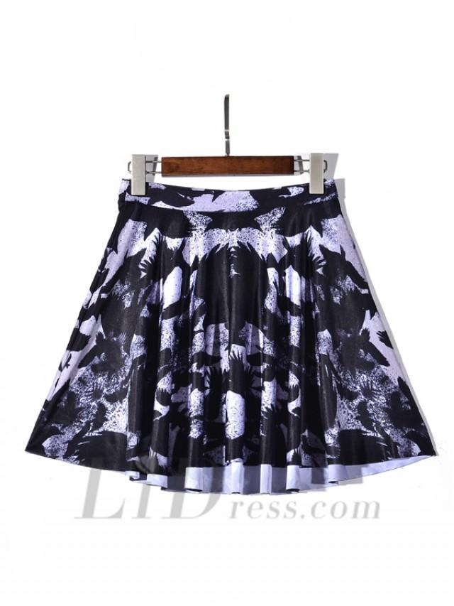 wedding photo - Selling Digital Printing Crow Pleated Skirt Skt1179