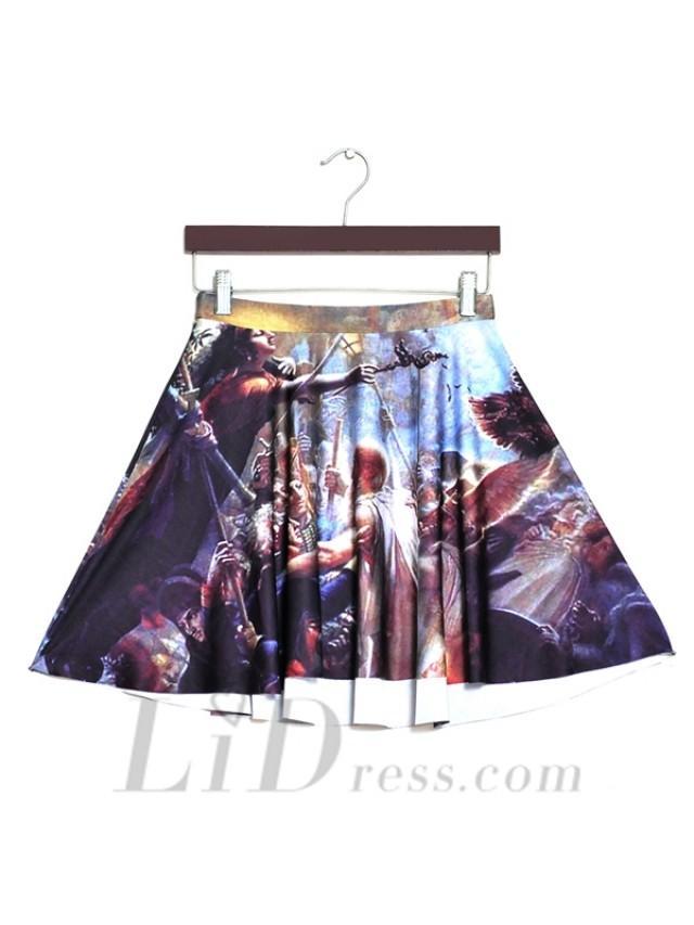 wedding photo - 2016 Hot Spring Star Digital Printing War Pleated Skirt Skt1177