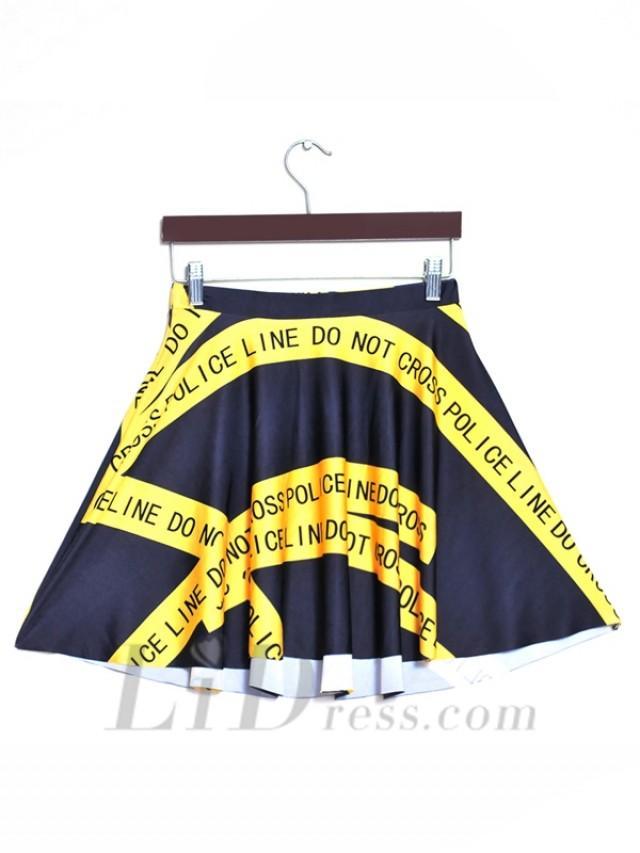 wedding photo - Womens Boutique Hot Selling Digital Printing Yellow Warning Stripe Pleated Skirts Skt1174