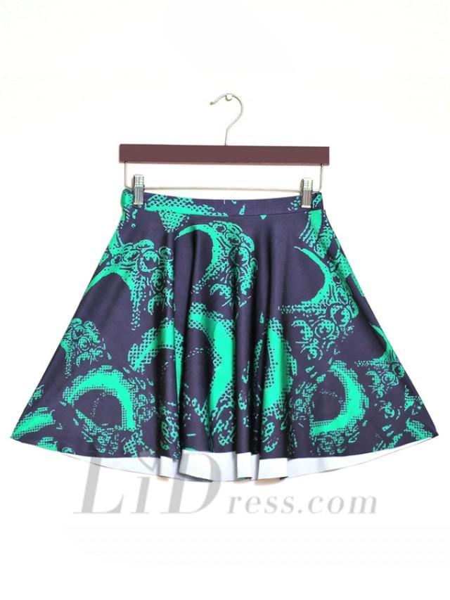 wedding photo - The Digital Print Dragon Summer Pleated Skirt Skt1173