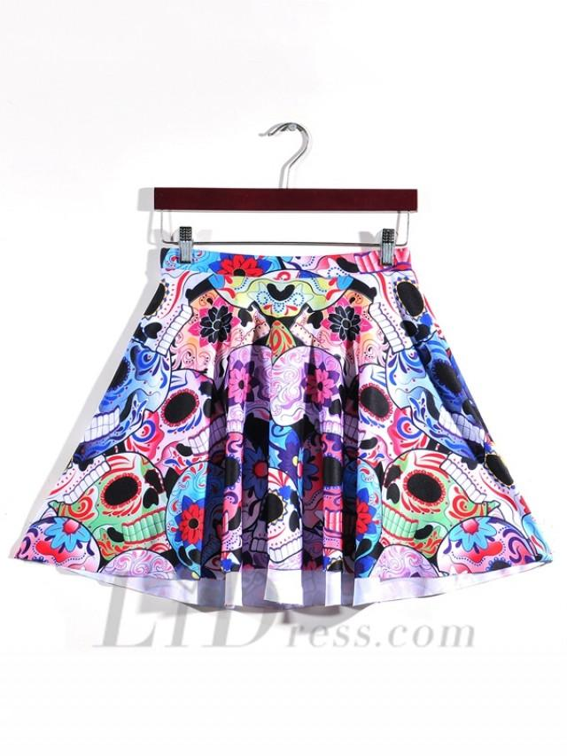 wedding photo - Hot Selling Digital Printing Color Skull Pattern Pleated Skirts Skt1171