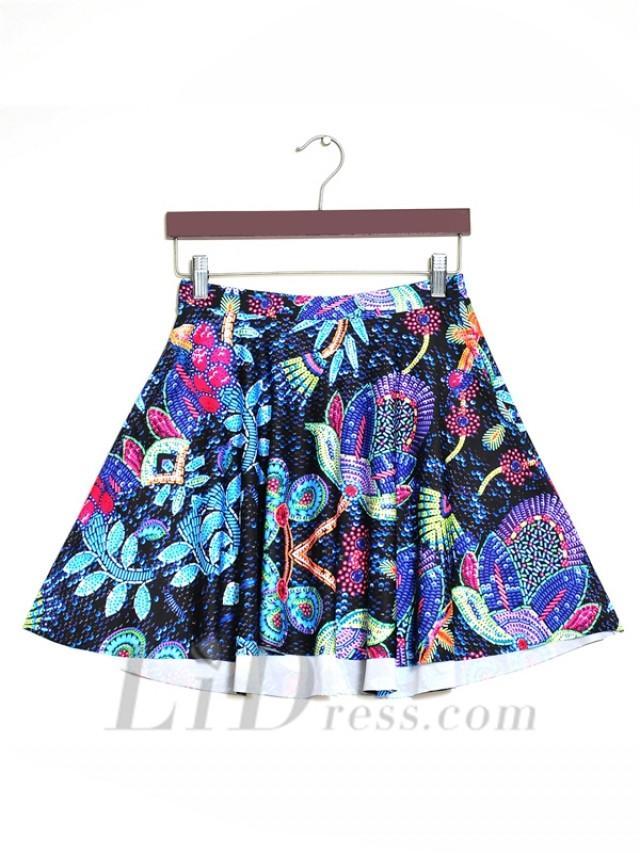 wedding photo - Star Womens Boutique Digital Printing Pleated Skirt Skt1170