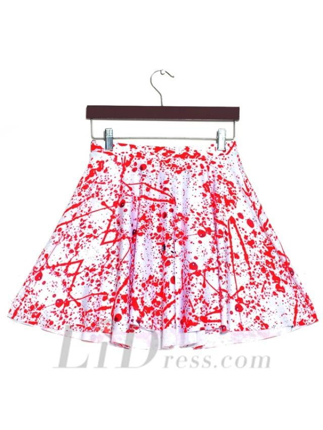 wedding photo - Hot Digital Blood Drop Pleated Digital Print Skirt Skt1168