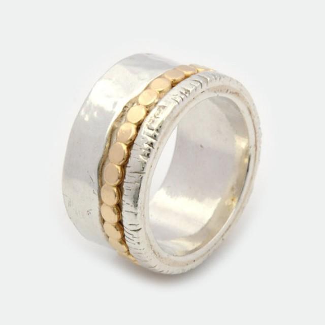 wedding photo - Womens Spinner Ring - Chunky silver ring - Silver and gold Spinner Ring - Meditation Ring - Silver anxiety Ring - Fidget Ring - Worry Ring