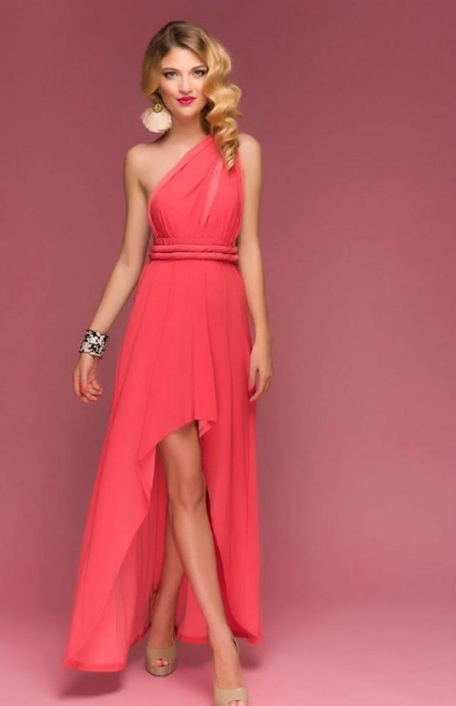 Coral bridesmaid dress assymetrical infinity dress floor for Coral wedding bridesmaid dresses