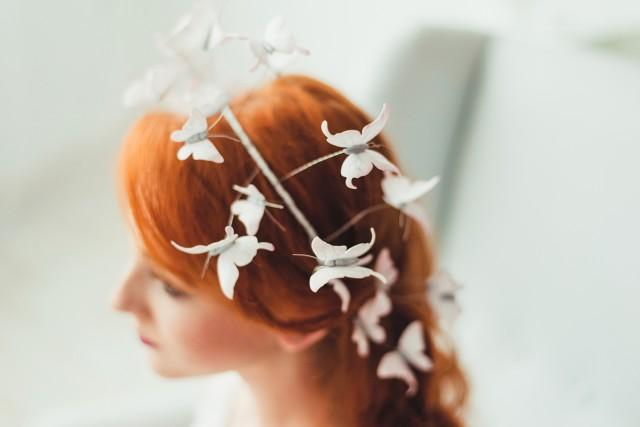wedding photo - White Butterflies Hair Crown