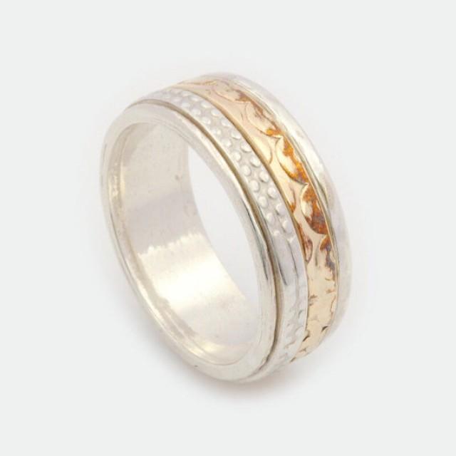 wedding photo - Unisex Spinner Ring, Silver Spinner Ring, Gold Spinner Ring, Spinner Ring, Spinning Ring, Worry Ring, Fidget Ring, Meditation Ring MR1941GF