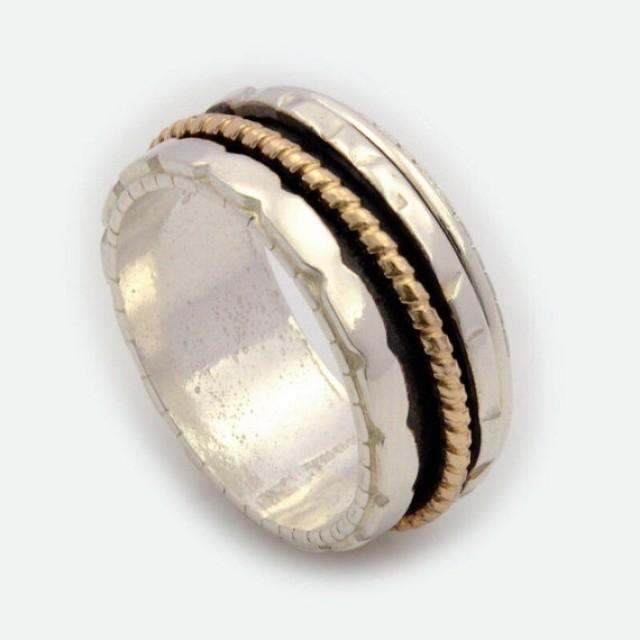 wedding photo - Unisex Spinner Ring, Silver Spinner Ring, Gold Spinner Ring, Spinner Ring, Spinning Ring, Worry Ring, Fidget Ring, Meditation Ring DR2004GF