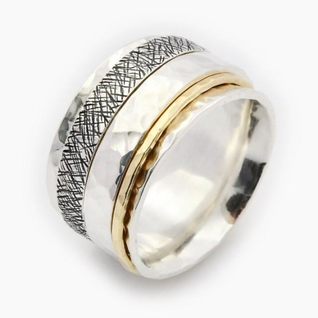 wedding photo - Unisex Spinner Ring, Triple Spinner Ring, Silver and Gold Spinner,Meditation Ring, Fidget Ring, Worry Ring,spinner ring for woman,spin ring
