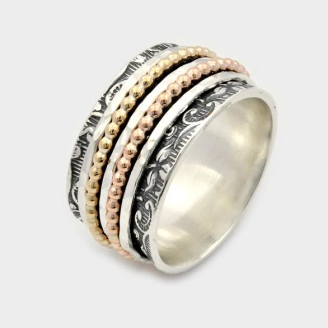 wedding photo - Leaf Motif Spinner Ring, Silver Gold Spinner Ring, Five Band Spinner Ring, Leaf Spinner Ring , Meditation Ring, spinner ring for woman