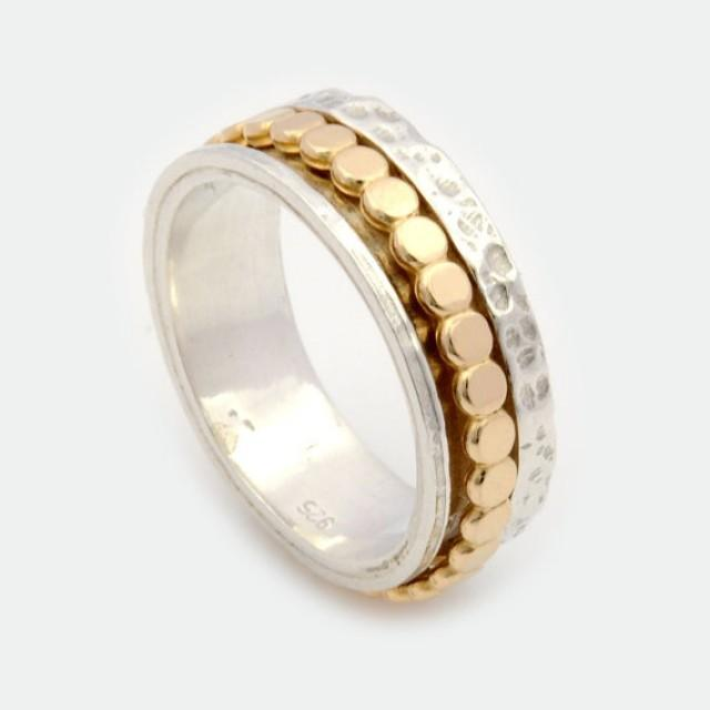 wedding photo - Unisex Spinner Ring, Silver Spinner Ring, Gold Spinner Ring, Spinner Ring, Spinning Ring, Worry Ring, Fidget Ring, Meditation Ring DR2011GF