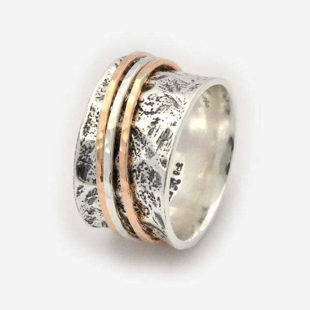 wedding photo - Abstract spinner Ring, Three tone Wedding Ring, Abstract spinning Band, Unique Silver Wedding Band, Handmade Band, Silver Thumb Ring