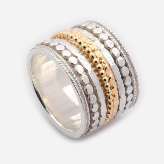 Silver and gold mix spinner ring 16mm extra wide spinner for Mixture of gold and silver