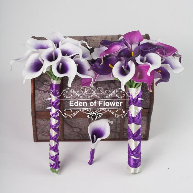 Real Touch Pu Calla Lilies For Purple Wedding Bridal Bouquet Home