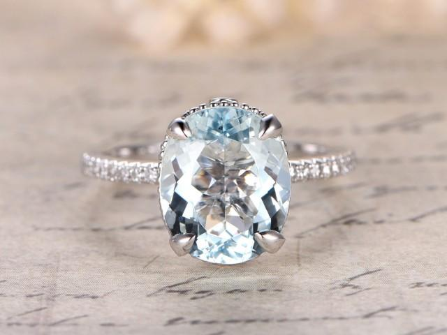 9x11mm Oval Cut Aquamarine Engagement Ring Filigree Ring