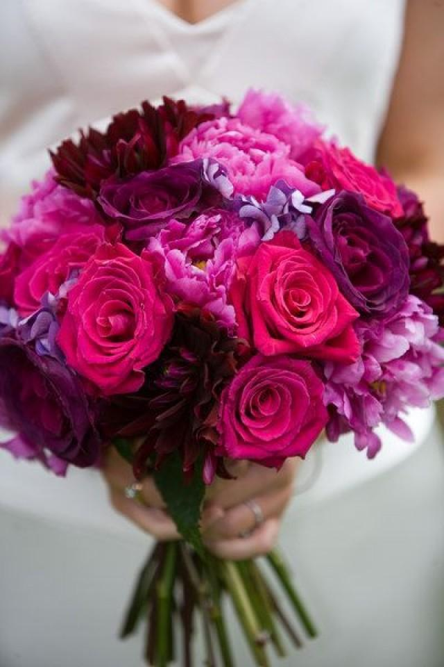 wedding photo - Purple Peonies Bouquet
