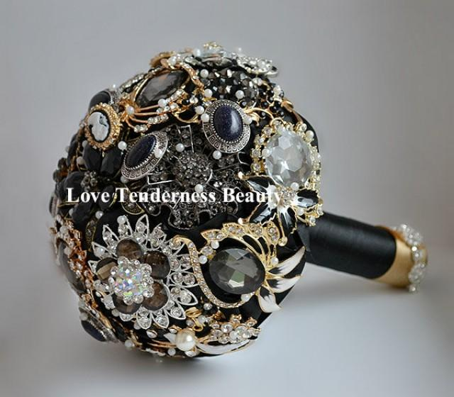 SALE 7 Black Brooch Bouquet Black And Gold Silver Wedding Bouquet Bridal Bouquet Jewelry