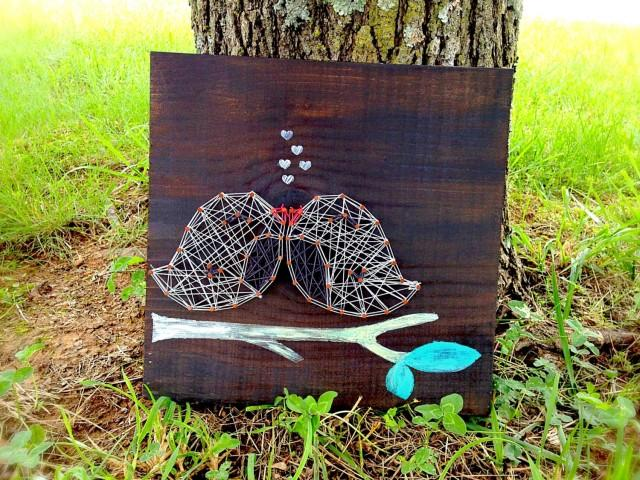 love bird sign bird string art wedding sign wooden sign personalized sign bird decor. Black Bedroom Furniture Sets. Home Design Ideas