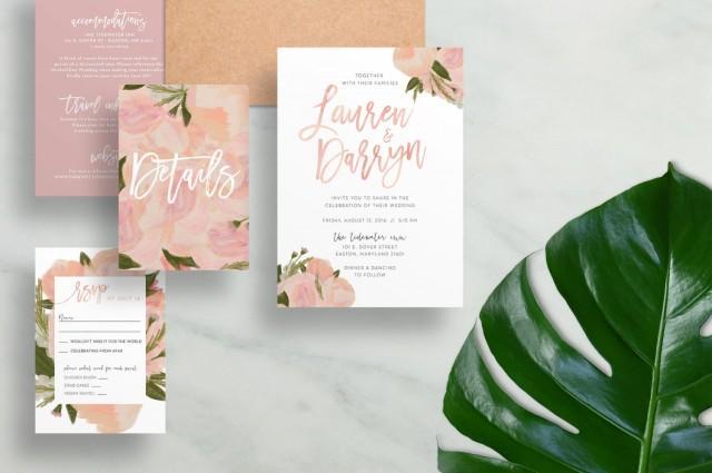 floral wedding invitations watercolor wedding invites brush lettering floral hand. Black Bedroom Furniture Sets. Home Design Ideas