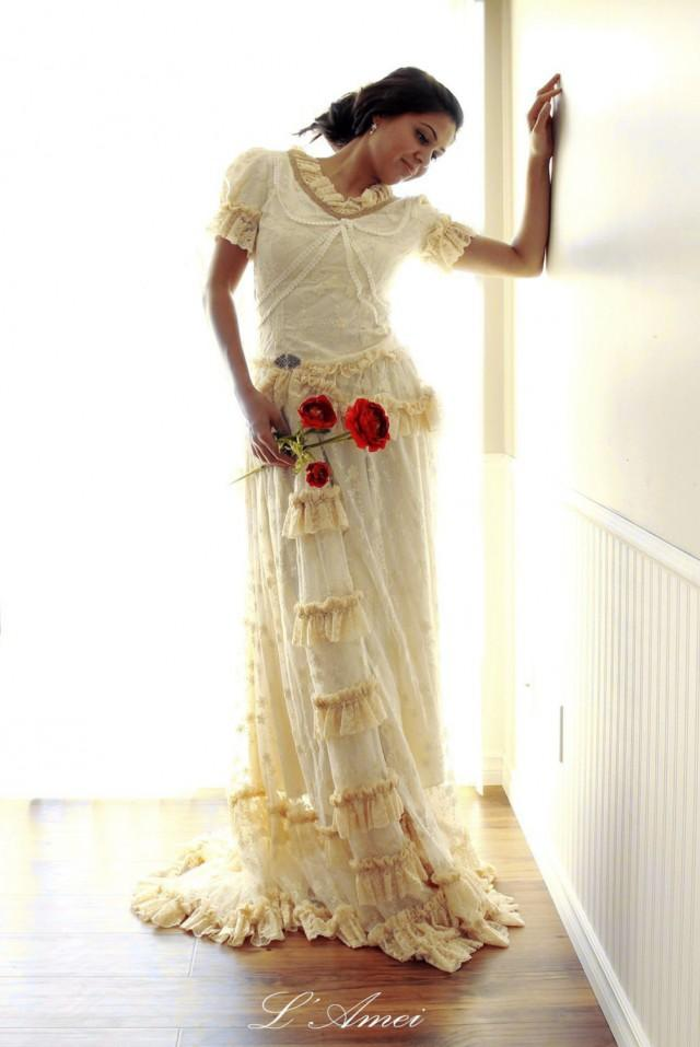 Wedding Dresses Lace Victorian : Long custom made embroidered retro victorian style lace