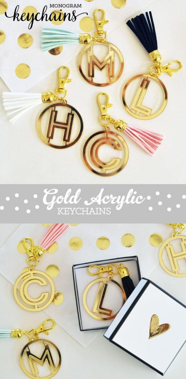 wedding photo - Monogram Keychains For Women Gold Keychain Personalized Keychain Tassel Keychain Custom Keychain Gifts For Bridesmaid Keychain (EB3140)