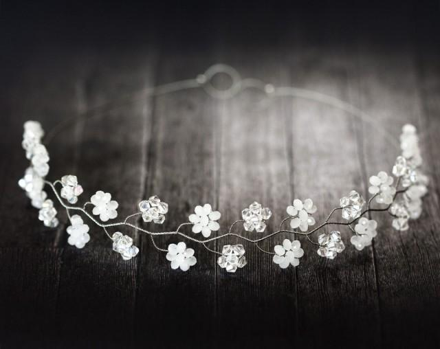 wedding photo - 181_ Crystal flower diadem, White floral crown, Bridal diadem.