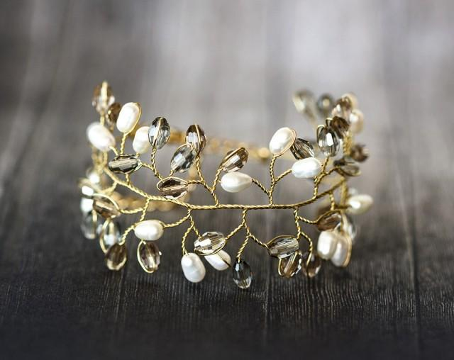 wedding photo - Gray crystal bracelet, Ivory pearl gold bracelet, Cuff wedding bracelet, Victorian jewellery, Freshwater pearl bracelets, Bridal jewelry.