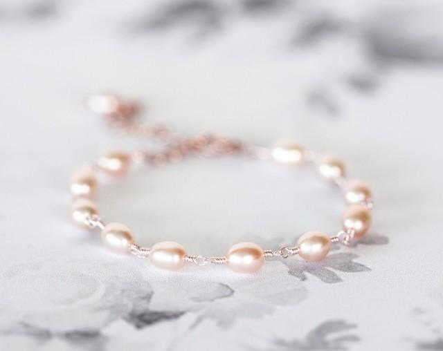 wedding photo - 617_ Peach pearl bracelet, Rose gold bracelet, Pink pearls jewellery.