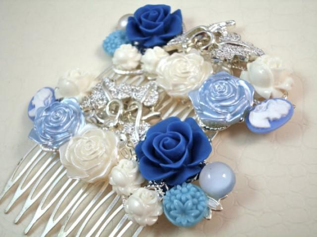 wedding photo - Vintage White Blue Bridal Hair Combs - Something Old