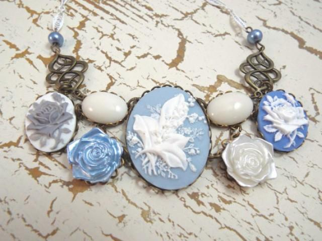 wedding photo - Lilly of the Valley Bridal Necklace - Blue & White Cameo Bib - Vintage Bride by SPDJewelry