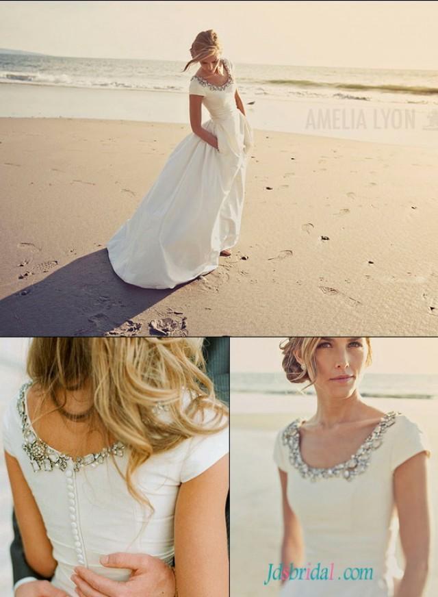 H1546 simple beach taffeta short sleeved wedding dress for Taffeta wedding dress with pockets