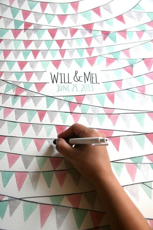 Museum Quality Wedding Guest Book Alternative Art Print - 300 Guest Signing - PENNANT FLAGS Painting Designed By OnceUponaPaper